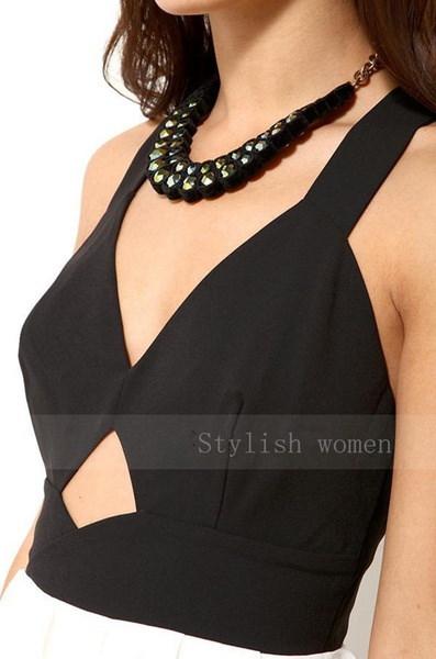 新しいファッションセクシーな女性のドレスノースリーブVネック中空サマーパーティードレスドレスバックレスドレス