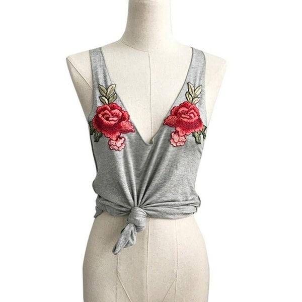 魅力的な女性ファッションセクシーなVネックアップリケローズノースリーブタンクキャミストップスブラウス