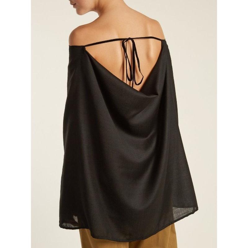 パルマーハーディング レディース トップス オフショルダー【Draped off-the-shoulder wool-voile shirt】Black