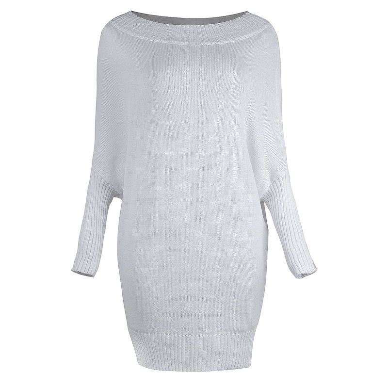 Women Autumn Winter Casual Long Sleeve Sweater Dress Loose Knitted Oversized Baggy Batwing Sleeve Pu