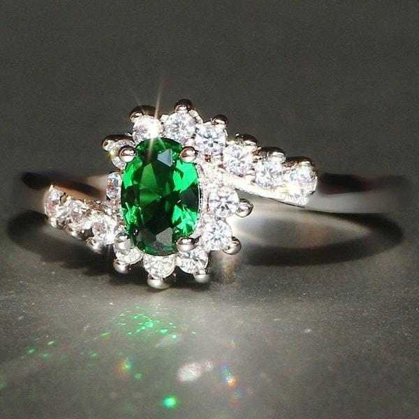 絶妙な925スターリングシルバーナチュラルサファイア宝石誕生石の花嫁の王女の結婚式の教師