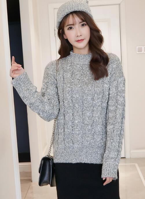 [55555SHOP]最適なハイネックセーター/レディース/韓国風/ショート丈/簡単/シンプル/デニムパンツと