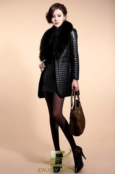 faux fur Fox fur collar sheep skin Women Clothing Long Coat Jacket parka Outwear