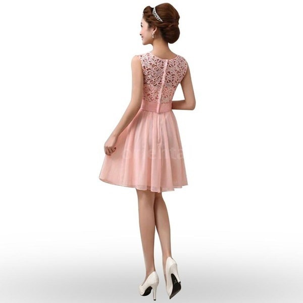 New Sexy Women Chiffon Lace Dress Sleeveless O Neck Solid Color Elegant Princess Party Dress Lace Sp