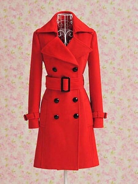 女性のトレンチのカシミアスリム冬の暖かいコートロングウールジャケットのアウトレット