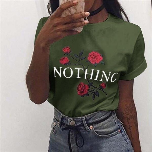 Womens Nothing Rose  Printing Summer Loose Tops Short-Sleeved Blouse T Shirt#crystalshining