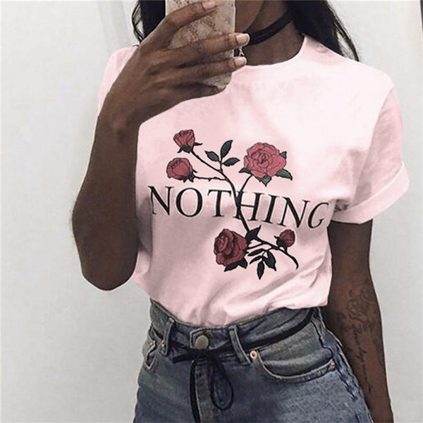 Womens Nothing Rose  Printing Summer Loose Tops Short-Sleeved Blouse T Shirt#crystalshining