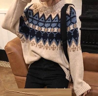 ノルディック柄 セーター レディース 幾何学 ネイティブ 柄 オーバーサイズ ニット トップス クルーネック リブ袖