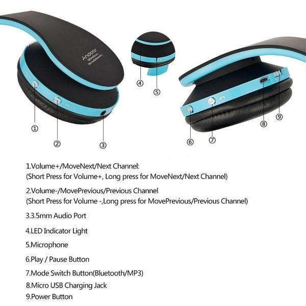 折りたたみ式ワイヤレスBluetoothステレオベースヘッドフォン、マイク付きiPhone 4f6m用マイク