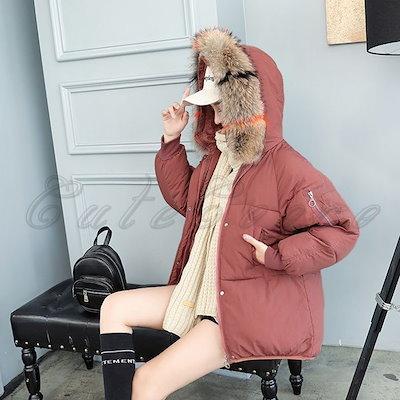 2018冬新作 中綿コート レディース ダウン風ジャケット ショート丈 ファー付き フード付き 厚手 防寒 帽子付き あったか アウター おしゃれ