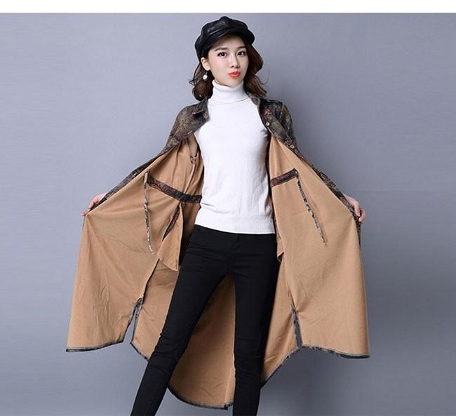 アウター コート トレンチコート レディース 女性 羽織 ロングコート 大人 総柄 カジュアル