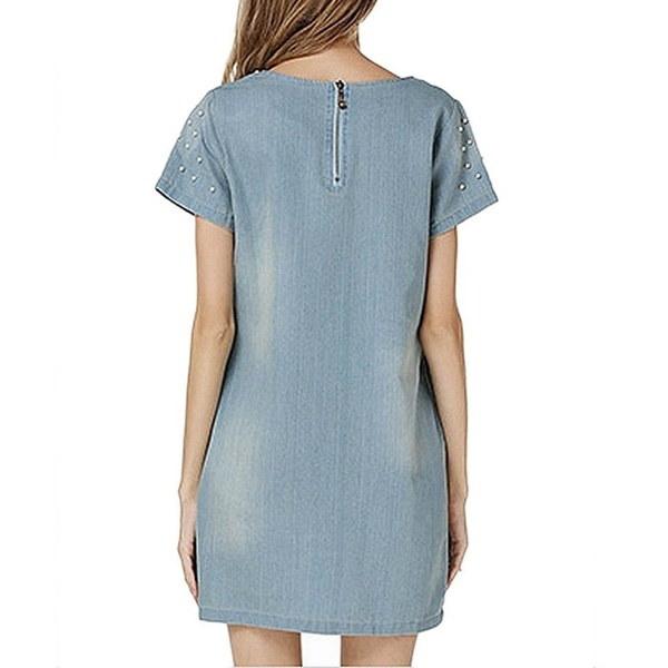 新しいファッションラブリーミニショートスリーブデニムジーンズ女性のドレスベルトS  -  3XL