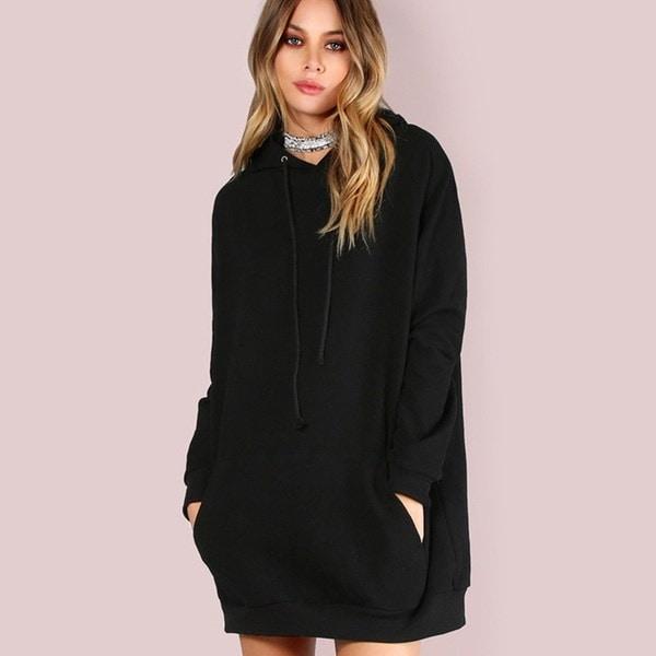2017秋の女性の新カジュアルスウェット刺繍ポケットフード付き長袖セーター