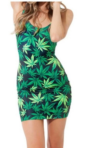 NEWカナビスマリファナ麻葉プリント女性セクシーベストスカートドレスサイズSML XL