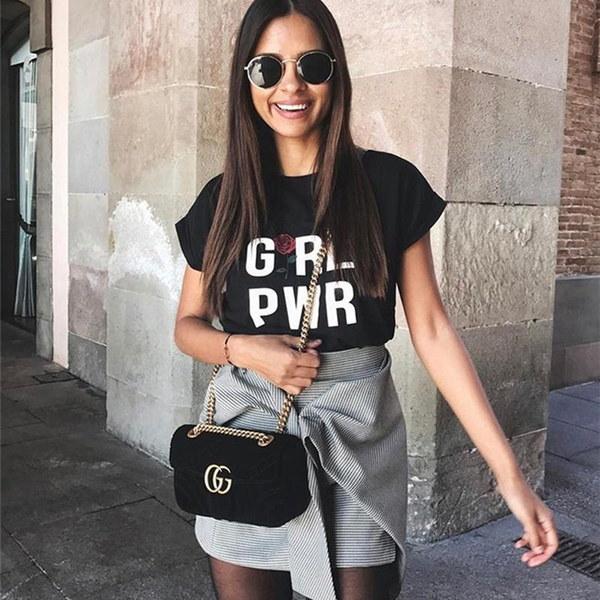 ガールパワーTシャツ女性TシャツユニセックスTシャツカジュアルシャツ