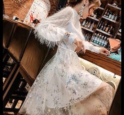 パーティードレス 結婚式 二次会 お呼ばれ お呼ばれドレス ドレス 20代 星柄 スター 星 ファー 長袖ドレス ホワイト