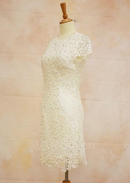 エレガントな女性の花のかぎ針編みレースパールビーズの花嫁介添人パーティーミニドレスドレスVVF
