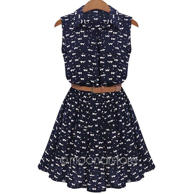 2015夏の女性カジュアル ヨーロッパ スタイル キャッ トフ ドレス ファッション ノースリーブ vestidos デ · フェスタ femininos x70 * E3253 # m2