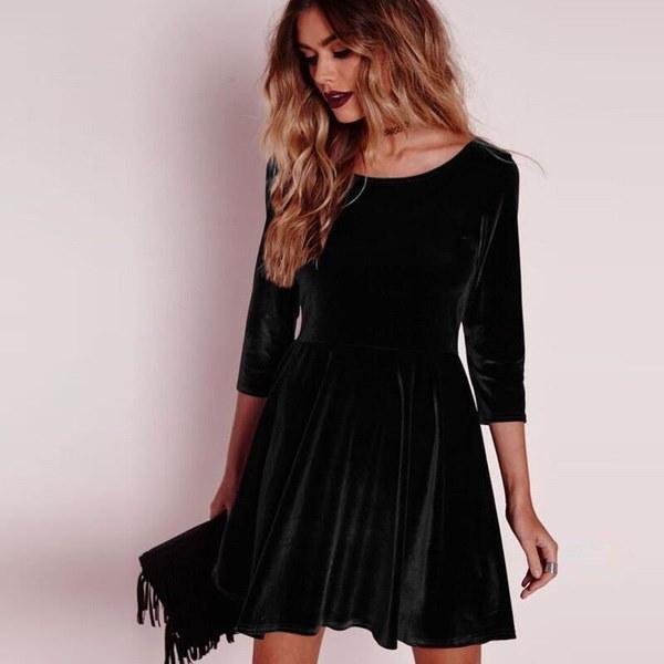 Women Long Sleeve Velvet Ruffle Skater Evening Party Pleated Short Mini Dress