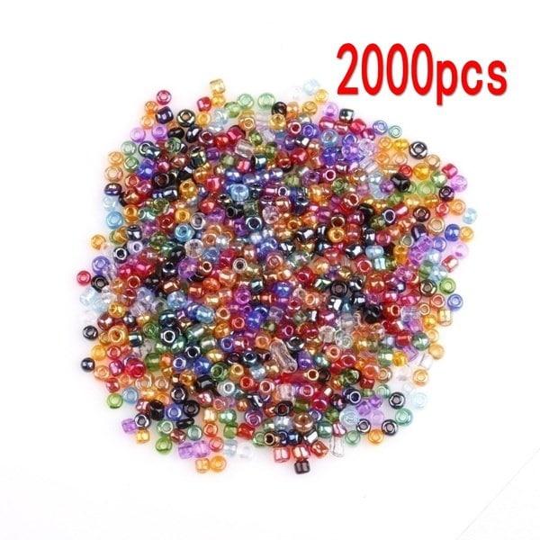 2000Pcs DIYペンダントネックレスブレスレットイヤリングのためのミニカラフルなクリスタルガラスのスペーサービーズシードビーズ