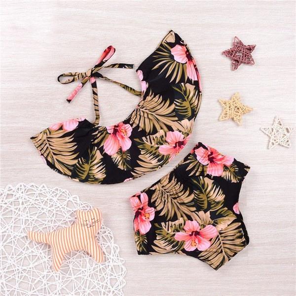 2本の夏の花新生児幼児の女の子の服ホルタータンクトップ+ショートパンツ幼児の服