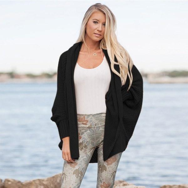 ファッション新しい女性のオーバーサイズのロングスリーブニットセーターバットウィングスリーブトップカーディガンアウトウェア