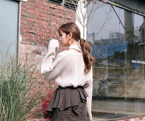 [55555SHOP2017秋冬スクール風ファッション/ニットセーター/青春活力/ラグランスリーブ/後ろリボ
