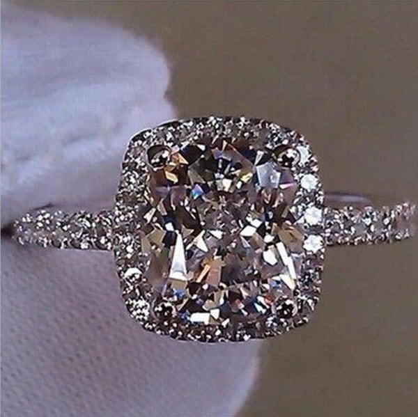 (サイズUS 4~13)ウェディング誕生石の花嫁の婚約クリア/イエロー/ピンクダイヤモンドリング925スターリングシルバー