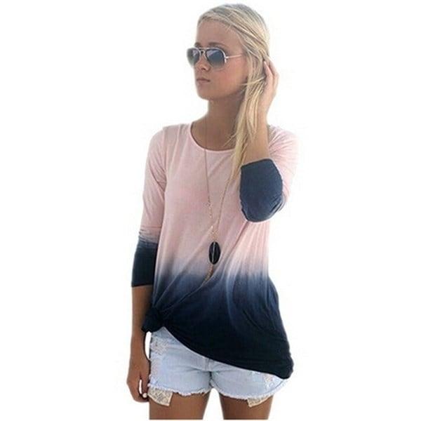 女性のファッショングラデーションカラーロングスリーブシャツブラウストップス