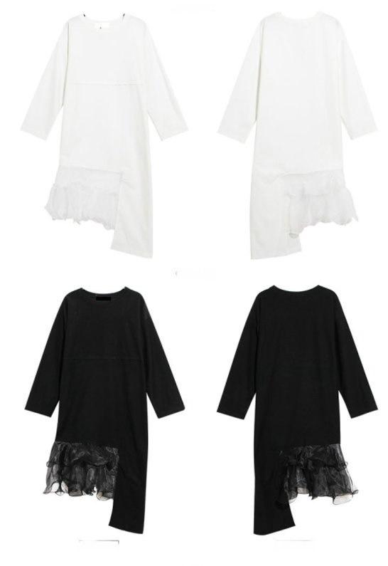 レディー女性変形Tシャツ型ワンピース ドレス チュニック フリーサイズ