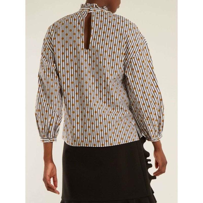アンナ オクトーバー レディース トップス【High-neck polka-dot cotton top】Granite-grey and white