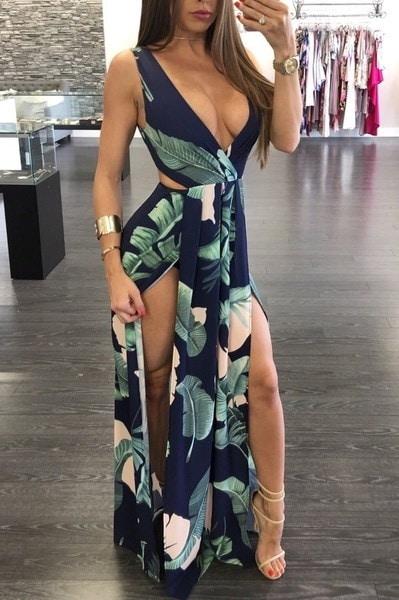 女性ファッションVネックリーフプリントセクシーなビーチドレス