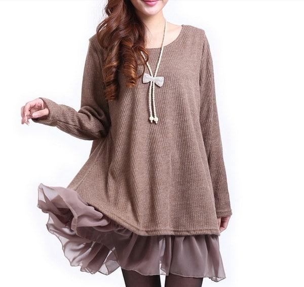 2015新しいオーバーサイズのニットウェアかわいいルーズプルオーバーの女性の冬のドレスニットセーター