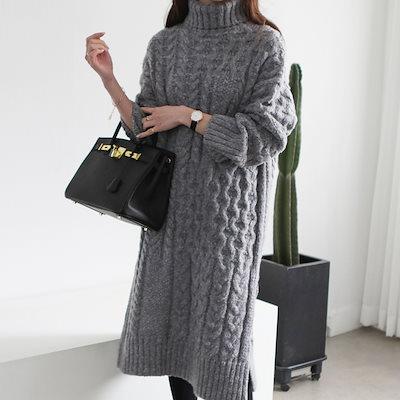 韓国ファッション[MADE IN KOREA]タートルネックのデザインで温め組織ディテールを加えたロング·ニット·ワンピース-HA-181127-4