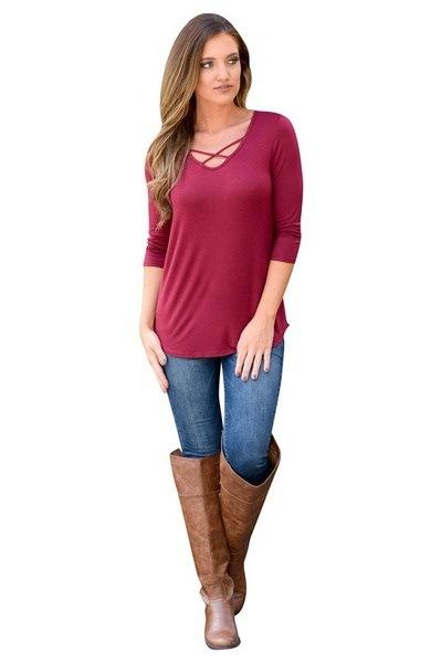 5色女性ファッションプラスサイズハーフベルトVネックトップスシャツソリッドカジュアルロングスリーブTシャツ