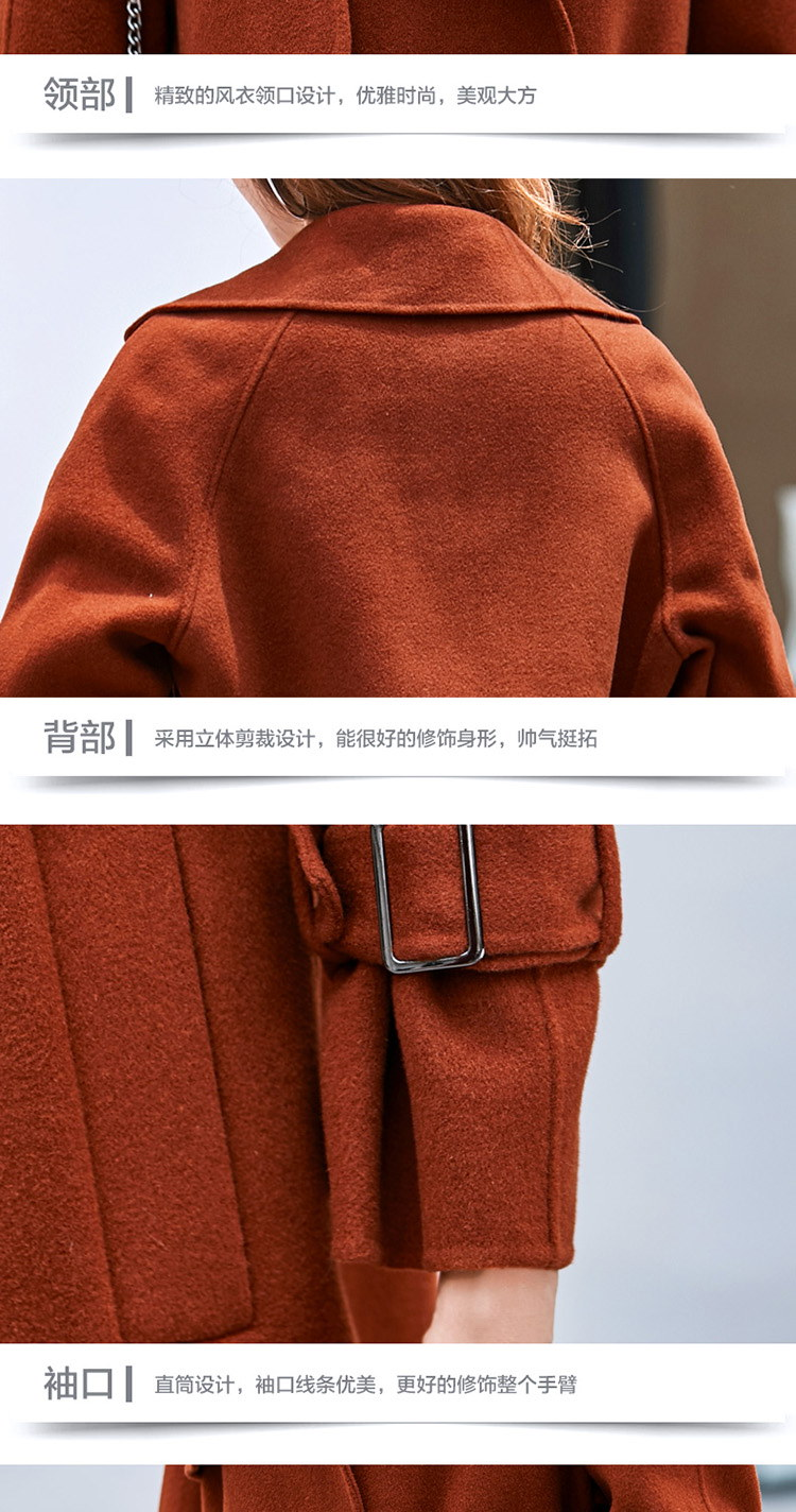 [55555SHOP]ファーコート スリム 防寒保暖 厚手 Vネック 無地 ベルト付属 ファッション イギリススタイル