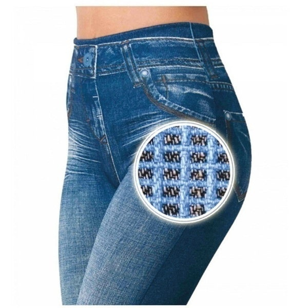 2017女性スキニーレギンススリムフェイクジーンズパンツポケット2色ブラックレギンスプラスサイズ3XL
