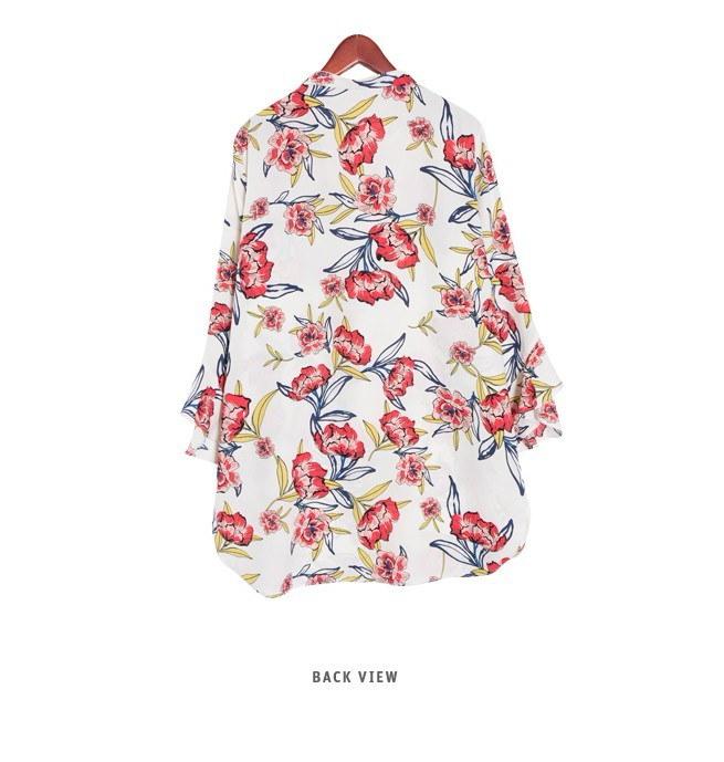 『韓国製』SELLISHOP  Kez 花柄 ブラウス チュニック「上品・カットソー・結婚式 ナチュラル,30代 着やせ 40代 ファッション50代 ドルマン・チュニック・2L 13号 ルーズ シャツ