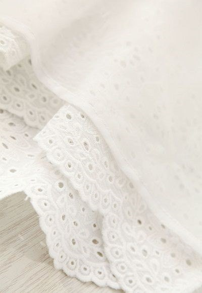 森系 ホワイト コットンワンピース 可愛いナチュラル服 彫り 無地 綿 コットン 2016