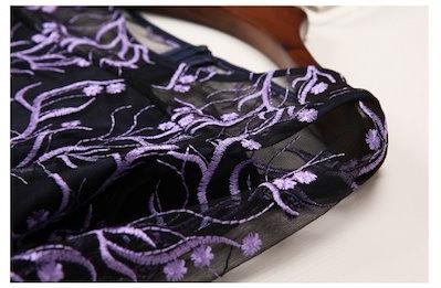 刺繍 花柄 7分袖 ショート丈 上品 結婚式 二次会 パーティー ドレス 20代 30代 40代 新作 服 レディース アパレル
