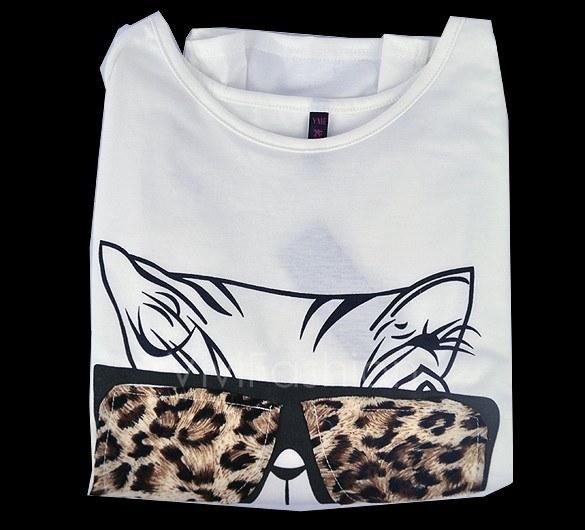 New Chic Design Wear Glasses Kitten Fashion Leopard Grain Decoration Long Sleeve T-shirt Hot VVF