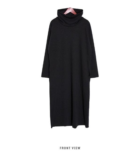 『韓国製』 Chic black ワンピース「大きいサイズ 大人・結婚式・ 黒 フレア・ママワンピ・黒Aライン、シャツ・コットン フォーマル