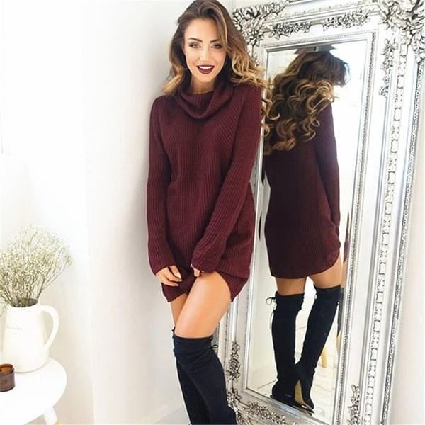 冬の女性タートルネックロングセータードレスファッションソリッドカラーカジュアルニットドレス
