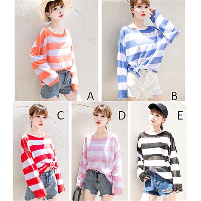 レディース  セーター   ♥韓国ファッション♥セーター  ♥  Sweet 長袖  knit swearter  ゆるかニットセーター ゆとりの、修身、独特のデザイン  ストライプ柄 送料無料