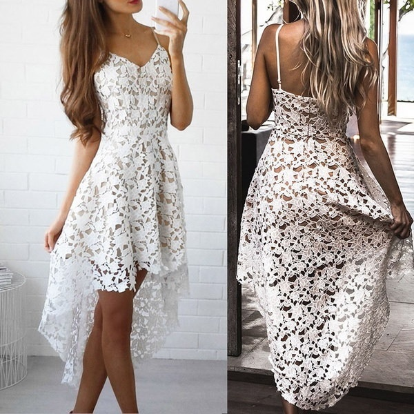 Women Sexy V-Neck Flower Lace Hollow Silm Dress