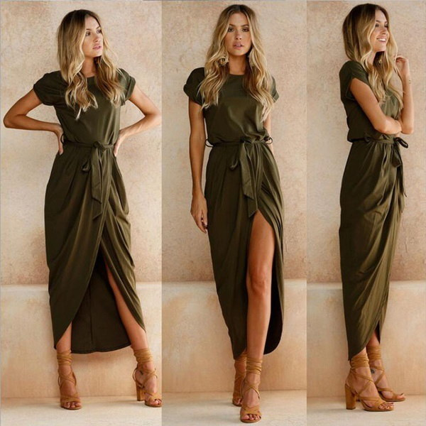 2017 New Women s Clothing Women Sexy Summer Fashion Bandage Solid Color Long Party Dress Maxi Straps