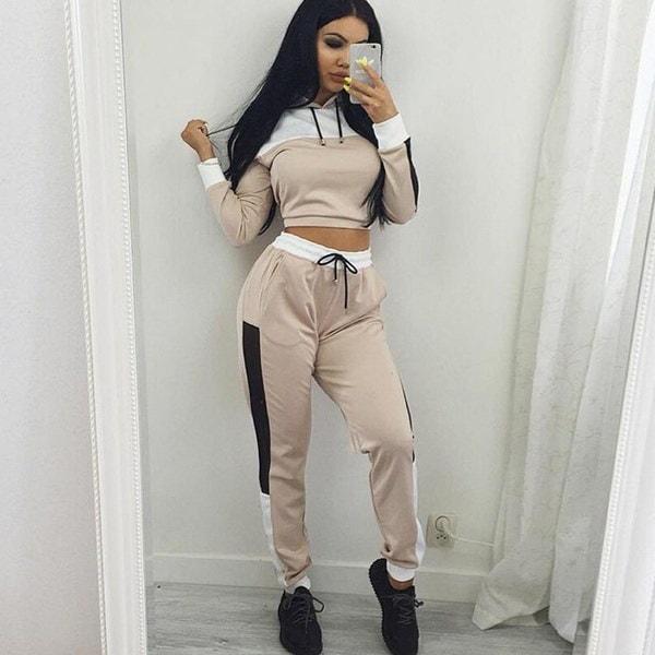 新しい女性のカジュアル2ピースTracksuitセットパーカ+パンツ2本の女性のアスレチックスーツ2色