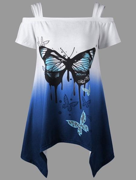 女性ファッション半袖バタフライプリント非対称コールドショルダートップTシャツプラスサイズS-5XL