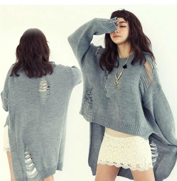 High Low Hem Distressed Over-sized Sweater
