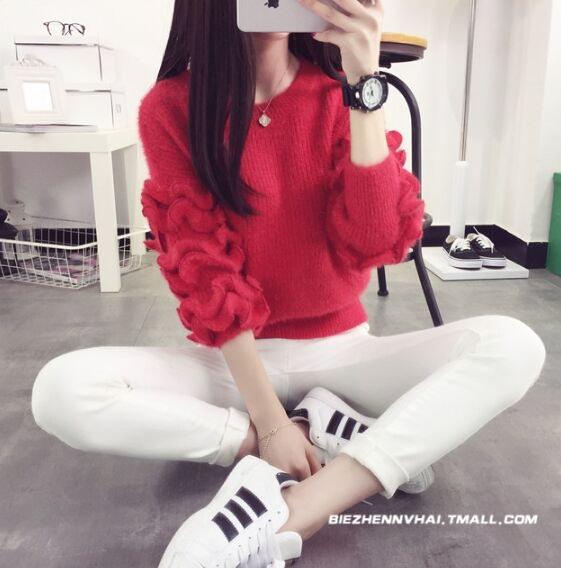 [55555SHOP]春秋冬レディーストップス5色 長袖 ニット セーター 袖フリル 丸首 着痩せ 通勤 韓国風カジュアル